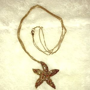 Double Chain Starfish Long Necklace